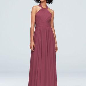 David's Bridal Chianti Halter Bridesmaid Dress